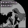 "oyceter: Grayscale silhouette of Anthy and Utena with text ""Fairy tale ending"" (fairy tale utena)"