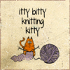 "turlough: line drawing of a tiny knitting cat with big ball of purple yarn, with the text ""itty bitty knitting kitty"" above ((other) knitter)"