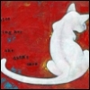kitrona: A white cat, its back to the viewer, on a variable red background (Default)