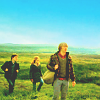 jenwryn: Harry, Ron and Hermione, walking in bright colour. (potter • h+h+r; trio together)