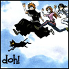 "oyceter: Ichigo and company jumping off the edge of something with text ""Doh!"" (bleach doh)"