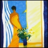 kate_nepveu: painting of woman in yellow dress against blue and yellow background (art)