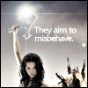 "kate_nepveu: River holding small axe above head, text: ""They aim to misbehave."" (Serenity)"