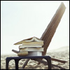 kate_nepveu: chair on beach with books stacked on adjacent table (relaxing with a good book (or four))