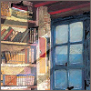 kate_nepveu: (con't) http://community.livejournal.com/book_icons/121545.html ; painting of bookcase with light slanting from window (happiness is a full bookcase)