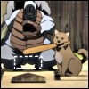 kate_nepveu: puppy holding baseball bat in mouth at home plate, with very small strike zone outlined (Samurai Champloo (baseball), the dog has a very small strike zone, sports silliness)