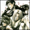 kate_nepveu: Kenren, Tenpou, Konzen, and Goku sleeping against each other with falling cherry blossoms (Saiyuki Gaiden (falling cherry blossoms), Saiyuki Gaiden)