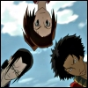 kate_nepveu: Fuu, Jin, and Mugen looking down, seen from below against sky (Samurai Champloo (looking down), Samurai Champloo)