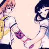 bell: Tomoyo and Sakura from CCS hold hands, smiling at each other (ccs hold hands)
