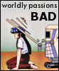 """kate_nepveu: robot bopping Yurika on head with stick, text: """"worldy passions BAD"""" (Martian Successor Nadesico, Nadesico (worldly passion))"""