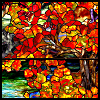 kate_nepveu: stained-glass depiction of autumn foliage (Tiffany, autumn, stained glass)
