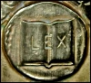 """kate_nepveu: book with """"LEX"""" inscribed on it, carved in bronze (law, law book)"""