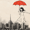 thisiscei: A drawing of a girl floating over a city with a red umbrella (floating)