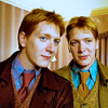sporky_rat: Fred and George Weasley looking quite dapper in suits and ties, wizard style. (twins)