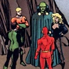sharpest_asp: All five Justice League members standing in a circle (Comics: JLA YO)
