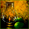 branchandroot: lit oil lamp in a dark window (lamp in evening)