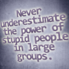 "ears101: ""Never underestimate the power of stupid people in alrge groups."" (Stupid people)"