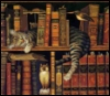 merseine: A painting of a mackerel tabby asleep on a book case. (Default)