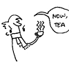 "tygermama: cartoon sherlock, holding a steaming cup of tea, says ""Now Tea"" (Default)"