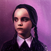 goodbyebird: Addams Family: Wednesday in a deep purple, wearing her customary happy face. (ⓕ Wednesday)