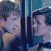 pocketmouse: Rory and the Doctor looking at each other. Rory is suspicious, the Doctor is smiling (rory11)
