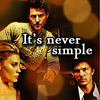 """skieswideopen: Kara, Lee, and Sam and the text """"It's never simple"""" (BSG: Kara & Sam & Lee)"""