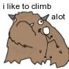 """rydra_wong: """"i like to climb alot"""". The xkcd stick figure climbs up the side of Hyperbole and a Half's yak-like """"alot."""" (climbing -- alot)"""