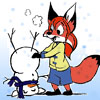 quicksilver_ink: A fox girl making an upside-down snowman (winter millie)