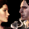 sleepyowlet: My char, Branwen and Loghain looking at each other. (loghain and branwen)