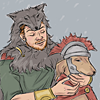 sineala: A Roman soldier wearing a wolfskin cuddles a dog wearing a Roman helmet and cloak. (Frontier Wolf: Soldier and dog)