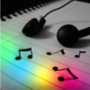 lucidlucy: [earphones on a notepad with music notes and rainbow light on it] (man of much music)