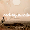 anghraine: luke walking onto a hill, backdrop of himself and the binary sunset; text: destiny awaits (luke skywalker)