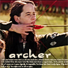 "damkianna: A cap of Susan Pevensie from the Narnia movies, with accompanying text: ""Archer"". (Archer.)"