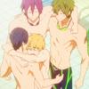 swimming_anime: rin, haru, makoto and nagisa hugging (hug it out)