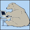 bethbethbeth: Cartoon bear, typing on a laptop (Bears laptop (copperbadge))