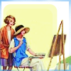 feather_ghyll: One girl seated by an easel with a watching girl standing behind (Girl painter)