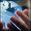 celli: a child holding a blue globe (peace)