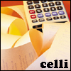 "celli: a calculator and papers with numbers on them, captioned ""celli"" (accounting Celli)"