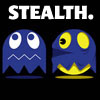 lilyleia78: Pacman dressed as ghost sneaking up on a ghost captioned Stealth (Stealth)