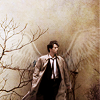 lilyleia78: Cas in sepia tones with outline of white wings behind him (Supernatual: Cas sepia)