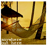 "celli: a hammock on a beach, captioned ""anywhere but here"" (anywhere but here)"