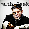 "celli: Jensen Ackles in a suit and classes, smoking a cigarette and going through calculator printouts, captioned ""Math Geek"" (math geek)"