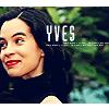 rhivolution: Yves Adele Harlow from The Lone Gunmen, smiling. Text: 'YVES' (always on the run: Yves Adele Harlow)