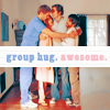 "celli: Chuck's Awesome, Ellie, Chuck, and Morgan in a group hug, captioned ""group hug. awesome."" (Chuck awesome)"