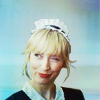 green: parker in a maid's uniform and a saucy wink (leverage: parker winking)