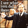 innocentsmith: ainley!master pointing accusingly; text: I see what you did there (dw: ainley!master sees what you did ther)
