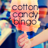 cottoncandy_bingo: Cotton Candy Bingo over a pink cotton candy/candy floss cone (Cotton Candy Bingo 2)