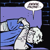 shatteredshards: Clint thinks that phones are evil (hawk phone)