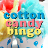 "cottoncandy_bingo: ""Cotton Candy Bingo"" over cups of pink, yellow, & blue cotton candy styled like cupcakes (Cotton Candy Bingo 3)"