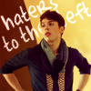 "veleda_k: Felix from Orphan Black. Text says, ""haters to the left."" (Orphan Black: Felix haters to the left)"